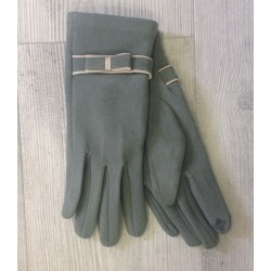 Guantes lazo verde grisaceo